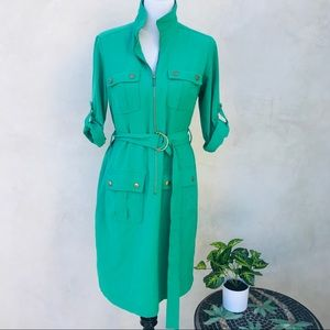 Sharagano Belted Front Zip Utility Dress Green GUC